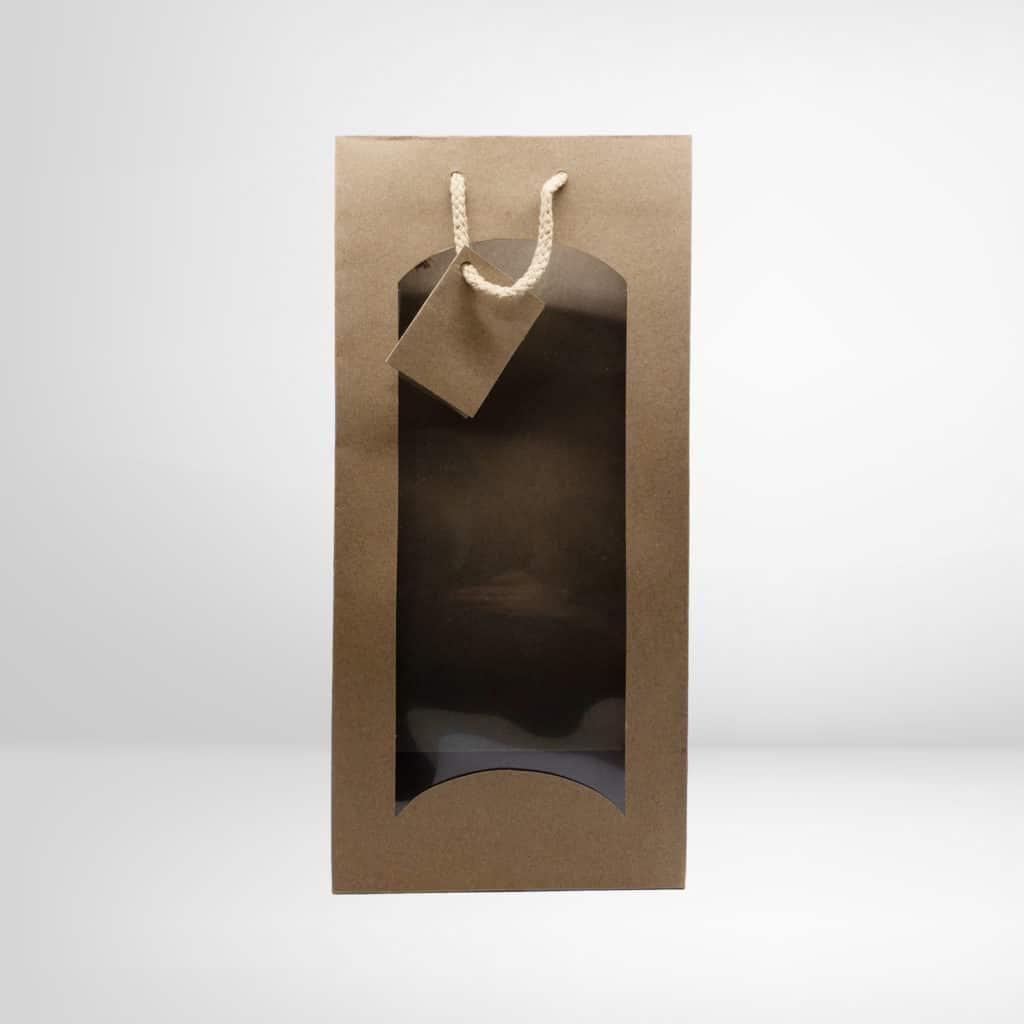 Braune Doppel-Weintasche mit Sichtfenster aus dem Regionalshop Deggendorf