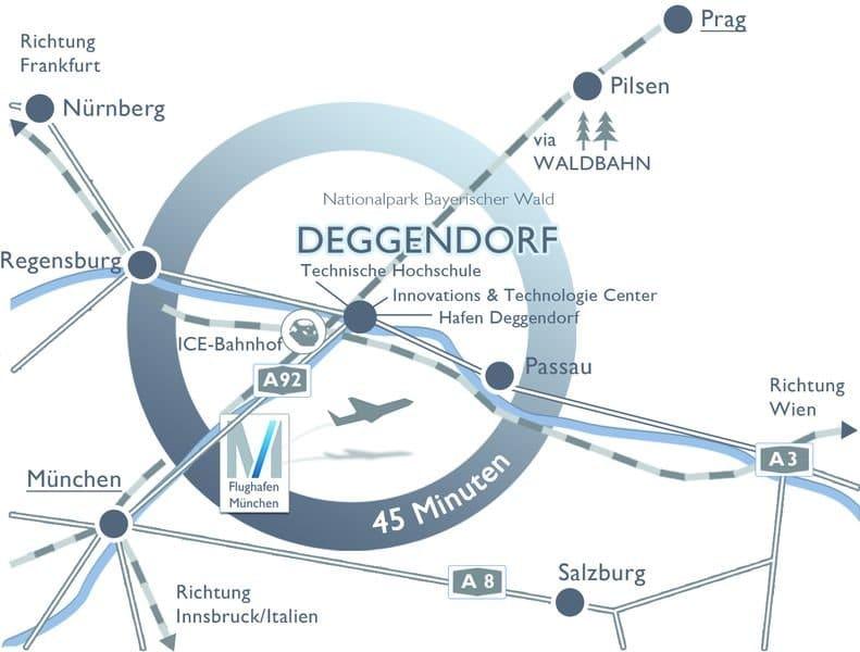 Karte mit Anreisemöglichkeiten nach Deggendorf