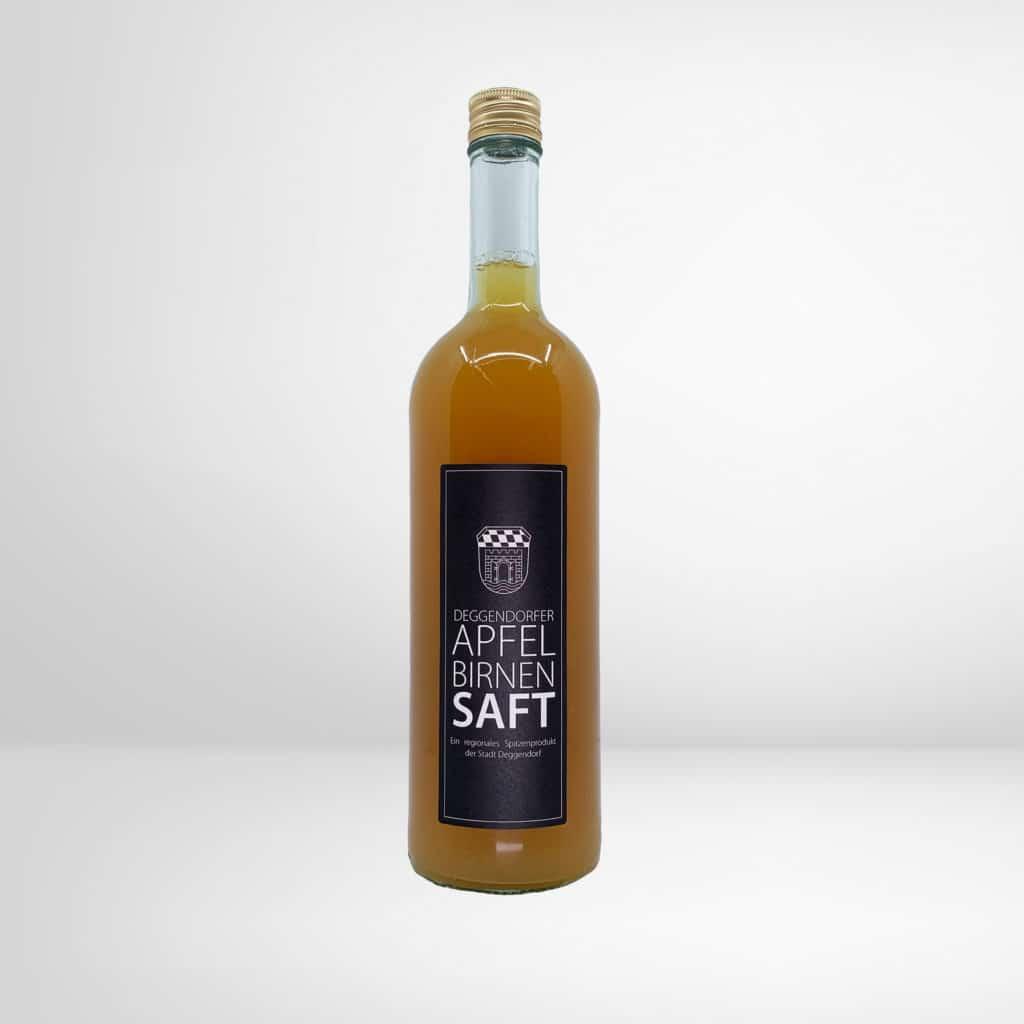 Eine Flasche Deggendorfer Apfel-Birnen-Saft aus dem Regionalshop Deggendorf