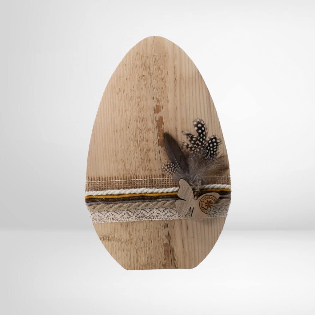 Holz-Osterei ohne Baumrinde geschmückt groß aus dem Regionalshop Deggendorf