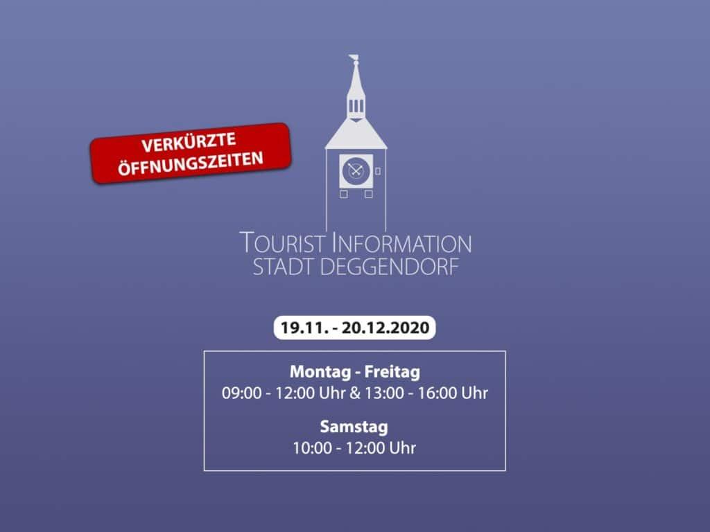 Infografik mit Symbol des ALten Rathauses in Deggendorf über die verkürzten Öffnungszeiten der Touristinformation im November/ Dezember 2020