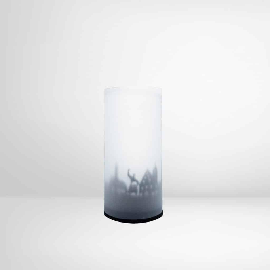 Windlicht für Teelicht im Deggendorf-Style durch Beschattung mit Deggendorfer Wahrzeichen